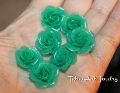 7 pcs Small Ice Blue ROSE. Polymer clay ice rose. For manual works. Jewelry supplies Code: 002 di FlowerClaySupplies su Etsy