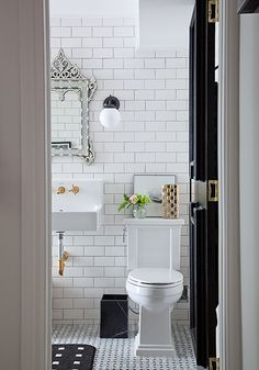 White subway tile bathroom with black and gold accents~ LOVE this look. Easy to change accent color with basic white subway tiles Bad Inspiration, Bathroom Inspiration, Wedding Inspiration, White Subway Tile Bathroom, Subway Tiles, White Tiles, Wall Tiles, Bathroom Black, Brass Bathroom