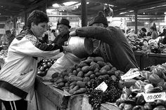 Buying #Potatoes  at #Bucharest, #Romania #market #Print By Judi Saunders