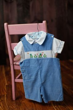 Toddler Boy Blue Corduroy Frog Smocked Embroidered by LittleMarin,