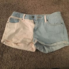 Blue and peach denim shorts Forever 21 light blue and peach denim shorts. Lightly worn. No wear and tear. Forever 21 Shorts Jean Shorts
