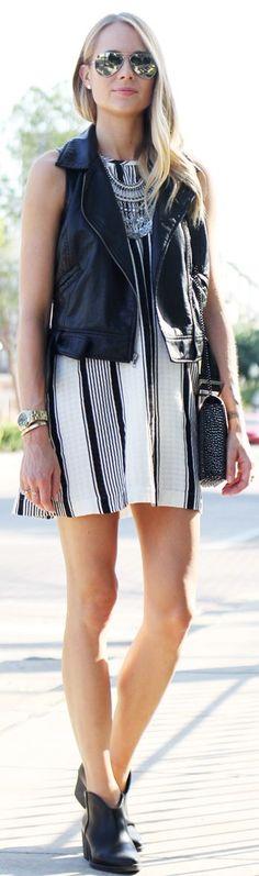 Lou & Grey Black And White Swingy Stripe Mini Dress
