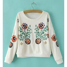 $29.11 Refreshing Scoop Neck Beaded Long Sleeve Sweatshirt For Women
