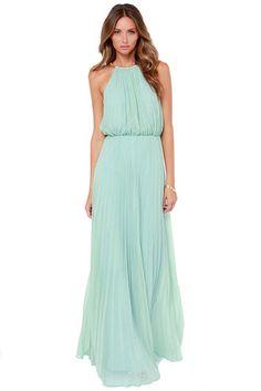 Shein Women s Mint Green Sleeveless Halter Pleated Maxi Evening Dress  (Turquoise)  EveningDress Maxi 071f88eed79