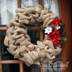 Christmas Burlap Wreath By Kim O'Connell
