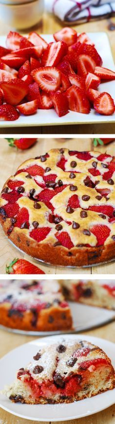 Cherry or Strawberry chocolate chip cake. Colorful, easy to prepare, light and fluffy cake texture Just Desserts, Delicious Desserts, Dessert Recipes, Yummy Food, Chocolate Chip Cake, Chocolate Cupcakes, White Chocolate, Sour Cream Cake, Chocolate Strawberries