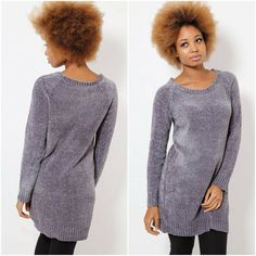 Made from a textured chenille fabric, its simple style features a basic crew neckline, long sleeves with ribbed trims and a longer length for extra coverage. For off-duty appeal, team with denim and a pair of easy slip-on trainers. Jumper, Slip On Trainers, Chenille Fabric, Off Duty, Long A Line, Simple Style, Lady, Knitwear, Clothes For Women