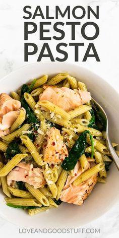 Salmon Pesto Pasta, Creamy Salmon Pasta, Salmon Pasta Recipes, Risotto Recipes, Seafood Dishes, Pasta Dishes, Seafood Recipes, Vegetarian Recipes, Seafood Pasta