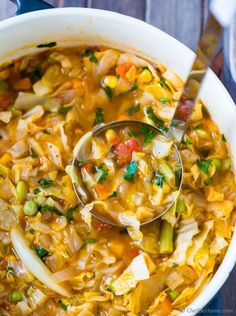 easy vegetarian cabbage soup recipe made with fresh ingredients and ready in just 25 minutes | chefdehome.com