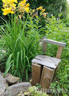 Pienet rakenteet ja koristeet ovat hyvää vastapainoa kasveille. Vaikkei tuoli istumista kestäisi, niin ainahan sitä voi katsella. www.kotipuutarha.fi
