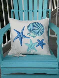 Outdoor pillow SEASHELL SCATTER square or rectangle by crabbychris, $41.00