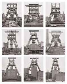 Bernd and Hilla Becher. Winding Towers, Belgium, Germany. 1971–91. Gelatin silver prints, each 15 3/4 x 12 1/8 (40 x 30.8 cm). Lent by Hilla Becher. Courtesy Sonnabend Gallery, New York. © Hilla Becher