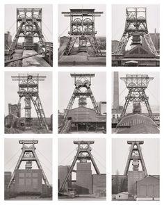"Bernd and Hilla Becher. Winding Towers, Belgium, Germany. 1971–91. Gelatin silver prints, each 15 3/4 x 12 1/8"" (40 x 30.8 cm). Lent by Hilla Becher. Courtesy Sonnabend Gallery, New York. © Hilla Becher"