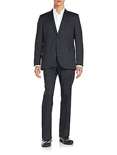 Saks Fifth Avenue Trim-Fit Pindot Wool Suit - Charcoal - Size