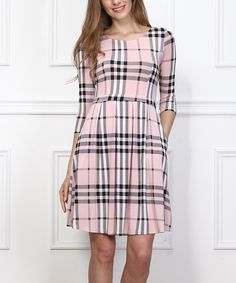 ffe5b49936 Look what I found on  zulily! Pink Check Fit   Flare Dress - Women