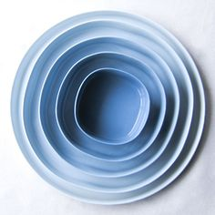 Set of 5 porcelain plates, ceramic design dishes, ombre, gradient of blue, square to circle, $219.60