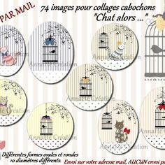 """Images digitales pour collage digital """"chat alors..."""" pour cabochon bijoux, envoi par mail"""