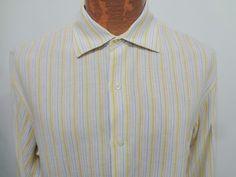 Banana Republic Mens L Yellow Blue White Linen Long-Sleeve Shirt Spread Collar #BananaRepublic