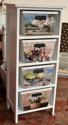 Workshop White-( instead of these photos, could put your kids pictures on them for an organization tower, laundry tower, shoe tower, etc. Decoupage Vintage, Decoupage Art, Decoupage Furniture, Hand Painted Furniture, Diy Furniture, Painting On Wood, Home Projects, Wood Crafts, Ladder Decor