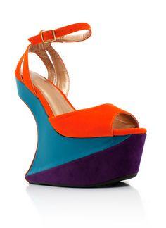 color block heel-less platforms