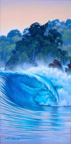oil painting, surf art - wave painting by Phil Roberts Underwater Art, Hawaiian Art, Wave Art, Tropical Art, Sea Waves, Surf Art, Ocean Art, Beach Art, Cool Art