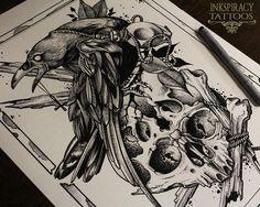 Impresión del tatuaje  Cuervo y calavera por Inkspiracy en Etsy