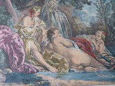 """Antique French engraving gravure """"Plaisir de l'Eté"""" F Boucher for Madame de Pompadour w cherubs putti, engraving for framing boudoir decor by MyFrenchAntiqueShop on Etsy"""