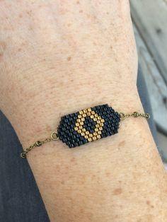 Bracelet tissage perles miyuki et bronze