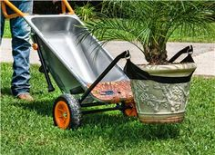 WORX Aerocart 8-in-1 All Purpose Yard Cart - WG050. Those heavy flower pots can be really annoying and back-breaking to move around. It often takes two or more people to move just one plant. Not anymore! With the flower pot moving strap and the Aerocart's patented extended arms, you can easily do it by yourself.