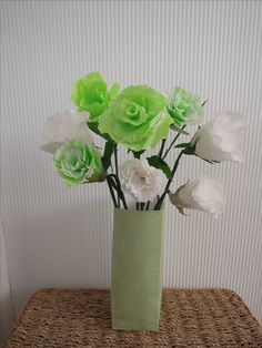 Serenity.  A calm  mix of crepe flowers in a card vase