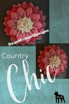 Original by DeanMichaelDesigns. Country Chic. Wreath for any season. Perfect for front door or to accent any decor. Interior design. Exterior design. Curb appeal. New design. New look. Summer decorating. Summer wreath.  #homedecor #wreath #summer Burlap Flower Wreaths, Deco Mesh Wreaths, Diy Wreath, Wreath Crafts, Country Chic Decor, Farmhouse Decor, What Sells On Etsy, Make Your Own Wreath, Gifts For Nan