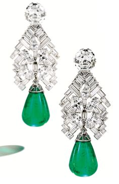 Diamonds in the Library: Art Deco emerald and diamond earrings by Cartier.