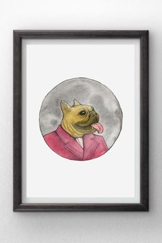 French Bulldog in a Suit  Watercolor painting  instant by Penfood