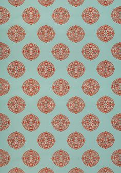 Halie Embroidery woven fabric from Thibaut's Enchantment line.  Asian medallions in 6 great colorways.  This is aqua & coral.