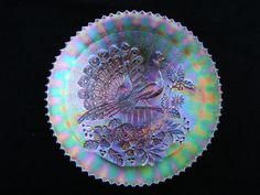 Northwood carnival glass dish, peacocks on the fence'.