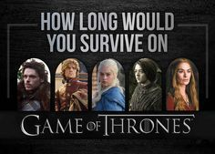 "How Long Would You Survive On ""Game Of Thrones""---I'd die at the Purple wedding...I hope that doesn't mean I'm like Joffery"