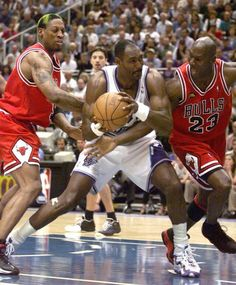 Michael Jordan, Dennis Rodman and Karl Malone (Utah Jazz)