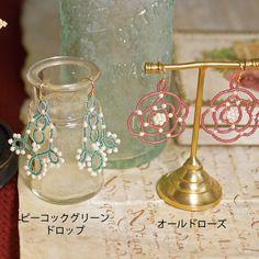 seed beads lace motif earrings