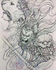 🐵 Artwork by: David Hoang Location: Toronto ON, Canada Artist's IG: Samurai Drawing, Samurai Tattoo, Samurai Art, Irezumi Tattoos, Japanese Tattoo Art, Japanese Art, Tattoo Sketches, Tattoo Drawings, Tatouage Delta