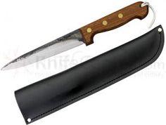 Svord Kiwi Pig Sticker General Knife 6-3/4 inch Carbon Steel Blade, Brown Hardwood Handles, Leather Sheath