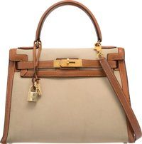 Hermes 28cm Gold Courchevel Leather & Beige Officier Canvas Sellier Kelly Bag with Gold Hardware U Circle, 1991...