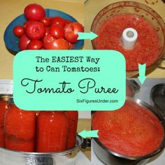The Best Way to Can Tomatoes: TOMATO PUREE. Seriously the EASIEST and FASTEST way to can tomatoes. Can now, use later for making homemade spaghetti sauce, tomato soup, stews and more. Canning Tips, Canning Recipes, Egg Recipes, Dinner Recipes, Canning Vegetables, Canning Tomatoes, Preserving Tomatoes, Freezing Vegetables, Tejidos