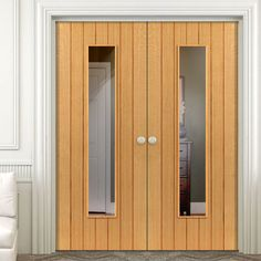 The beautiful JB Kind River Oak Cottage Cherwell Glazed Door Pair - Clear Safety Glass - Prefinished. #glazeddoubledoor #internalglazeddoor #internaldoorwithglass