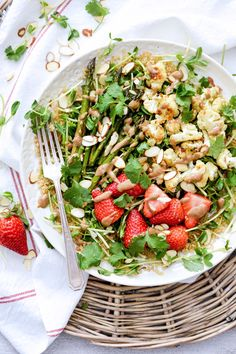 Quinoa and Pea Shoot Salad with Cauliflower, Asparagus and Strawberries   www.floatingkitchen.net