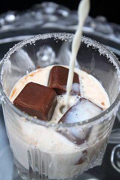 Chocolate ice cubes with vanilla milk!
