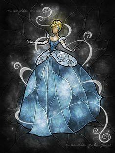 Cinderella Bibbidi Bobbidi Boo by mandiemanzano on DeviantArt Disney Love, Disney Magic, Disney Art, Brave Disney, Disney Stained Glass, Stained Glass Art, Disney And Dreamworks, Disney Pixar, Disney Characters