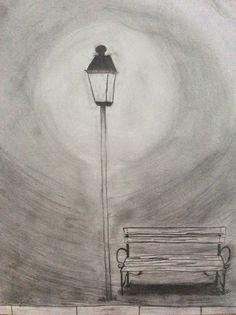 Park bench under street lamp in the night. Pencil drawing