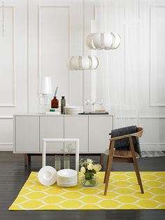 Home Decoration Online Stores Key: 1629148519 Ikea Stockholm Chair, Ikea Stockholm Sideboard, Ikea Yellow, Restoration Hardware Dining Chairs, Ikea Decor, Diy Chair, White Furniture, Furniture Redo, Scandinavian Home