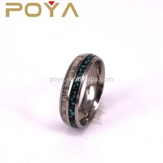 POYA Jewelry 8mm Tungsten Carbide Wedding Band Rings Turqoise And Deer Antler Inlay Step Edges For Men Women