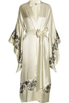 Carine Gilson Silk Lace-Appliqued Kimono Robe - maybe a different color...